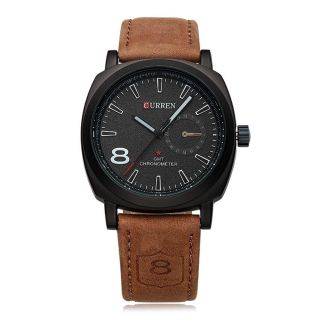 Mens Womens Water Resistant 30M Analog Quartz Wristwatch with Black Dial and Brown Leather Adjustable Watch Band NEW $15 EA or $25 for TWO