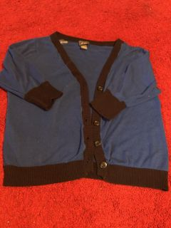 EUC Navy blue with black trim cardigan