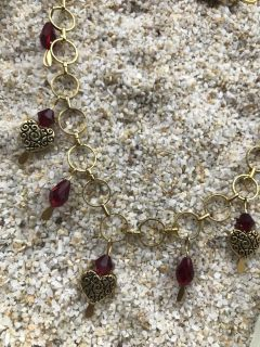 Gold & Red crystal Heart Necklace