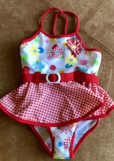 Cute As A Button... Belted Floral & Polka Dot Gingham Skirted One-Piece Swimsuit