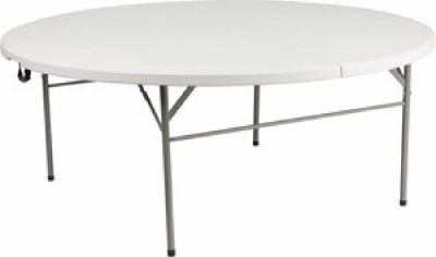 "72"" Round Plastic Bi-Fold Table - Folding Chair Larry Hoffman"