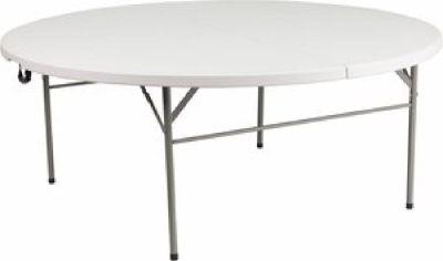 "72"" Round Plastic Bi-Fold Table - Folding Chair Larry Hoffman"