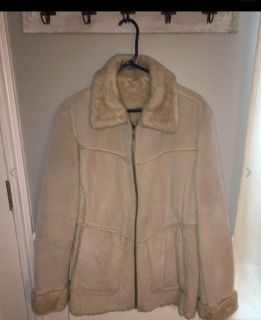 Women s Vintage Coat WINLIT Genuine Leather Suede Large Soft Faux Fur Lining Tan