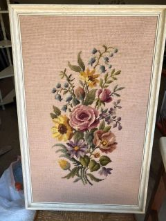 Vintage needlepoint. 19 by 29 . A few age spots as shown. Cross posted.