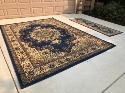 Navy Blue Castello Medale Oriental 7'9 x 11' Area Rug with Runner