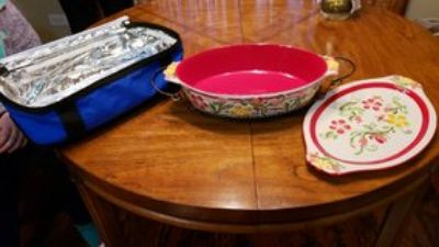 Casserole dish with stand, serving tray and insulated carrier