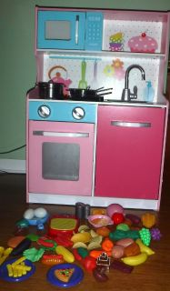 Wood Play Kitchen Set w/Pots Pans - Utensils - Dishes & Play Food