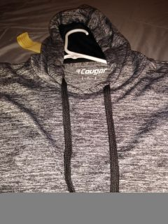 Charcoal grey, hooded shirt