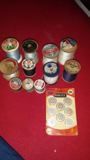 Vtg spools of thread and buttons