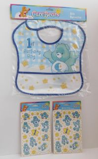 Birthday Bib and 2 packs of stickers - Care Bears themed