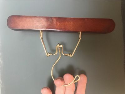 25 wood and brass pant/skirt closet hangers