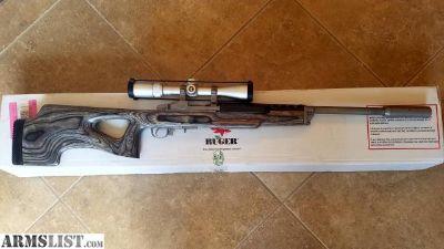 For Sale: Ruger Mini-14 Rifle 223 Black Lam/Sts w/Thumbhole Stk w/ silver Nikon Buckmasters 3-9x40 scope