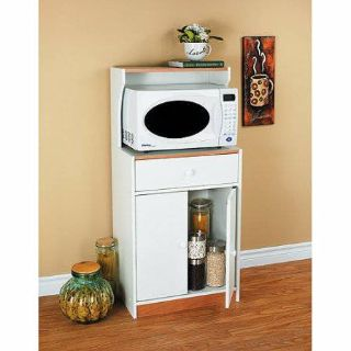 Microwave Cart with Drawer (White) - NEW!