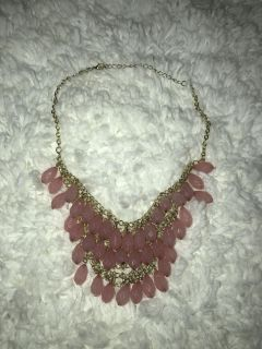 Short Gold Chain Necklace with Bubblegum Pink Dangling Beads