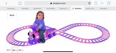 Minnie Mouse ride on train with tracks