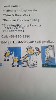 Residential painting inside/outside free estimate