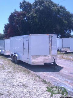 7x 16ft Wht Exterior Enclosed Trailer w- V-Nose Front