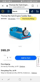 Toddler Thomas the Train bed with sheet set and comforter
