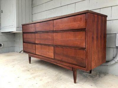 Midcentury Triple Dresser & Mirror Set