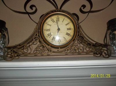 STERLING  NOBLE WROUGHT IRON SCROLL MANTLE CLOCK