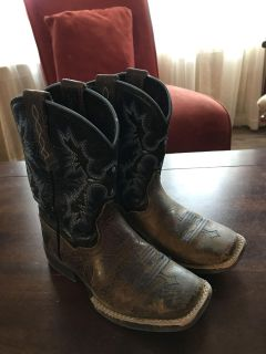 Child black and navy Ariat boots, size 11.5, $20, Ardmore