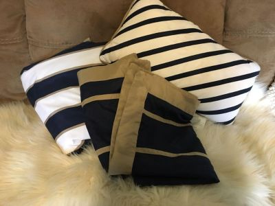 Queen sized navy, tan, and white duvet set