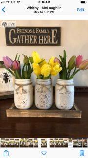 Mason Jar Set with barn board tray. Pick up in Whitby.