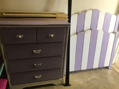 Twin bed frame and 4 chest dresser