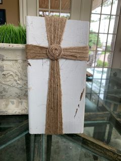 Home decor - Cross woven on wooden block