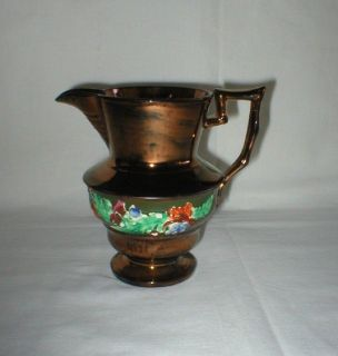 Antique Copper Luster Ware Pitcher from Germany 110 Yrs Old + Handwritten Note