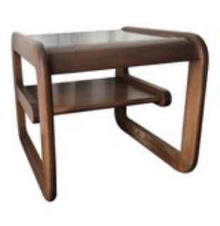 Mid-Century Modern Curved Wood and Glass End Tables