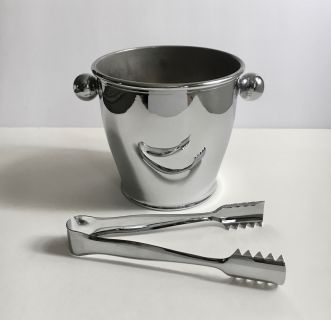 Alessi Mirror Stainless Ice Bucket with Ice Tongs