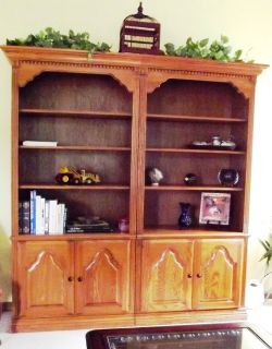 Twin Bookcases with Storage Solid Medium Oak 4 Adjustable Shelves 3 pc