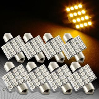 Sell 8x 34mm 16 SMD Amber LED Festoon Dome Map Glove Box Trunk Replacement Light Bulb motorcycle in Walnut, California, United States