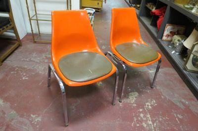 Vintage MCM pr. of orange fiberglass chairs