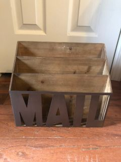 Wood and metal mail holder