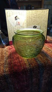 Vintage - National Potteries Woven Glass, Emerald In Color, Beehive Bowl