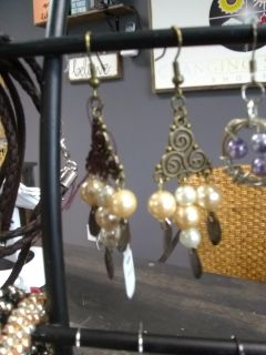 New with tags filigree and pearl handmade earrings
