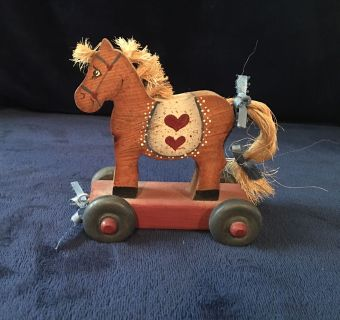 VINTAGE/ANTIQUE WOODEN HORSE ON WHEELS