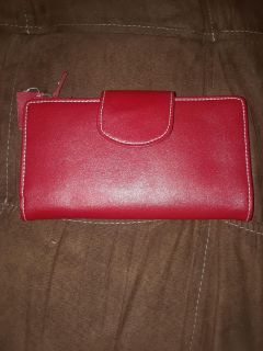 Red genuine leather women's wallet