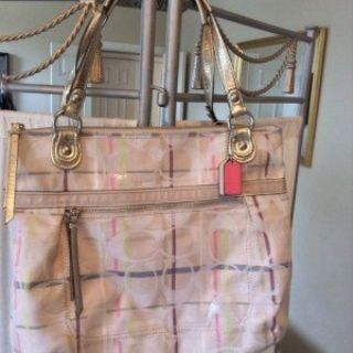 ***Coach Tattersall Sequin Lurex Glam Tote Handbag***