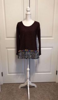 Boutique Maroon PomPom Long Sleeve