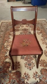 Antique Needlepoint Seat Dining Room Chair