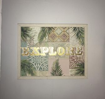 Painted wood Explore framed 14 x11 wall decor