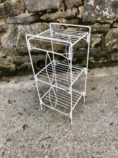 Mid Century 3 Tiered Painted Metal Shelf / Table Stand