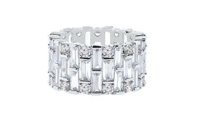 SALE TODAY***Baguette Swarovski Crystals Eternity Ring: 9***BRAND NEW