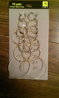 gold and silver hoops 7 out of the 10 pairs left all for 3.00