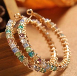 Earrings Hoops with Austrian Multicolor Crystals Interwoven with Copper Wiring