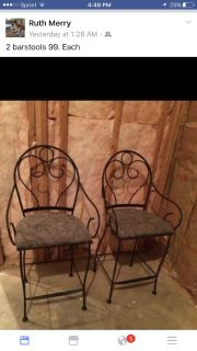 2 barstools raw iron