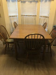 Custom made oak table and 6 chairs